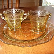 Depression Glass (Yellow) Plate, Creamer and Sugar Dish