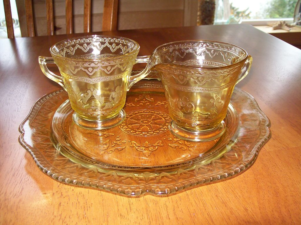 Depression glass yellow plate creamer and sugar dish