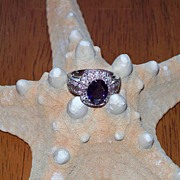 Iolite and Diamond Ring in 14 Karat white Gold