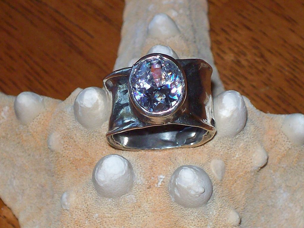 Bold Vintage Sterling Silver and Bezel Set Cubic Zirconia Band Ring
