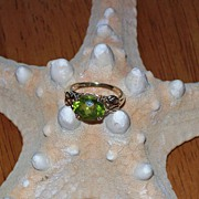 Chinese Peridot Ring in 10 Karat Yellow Gold