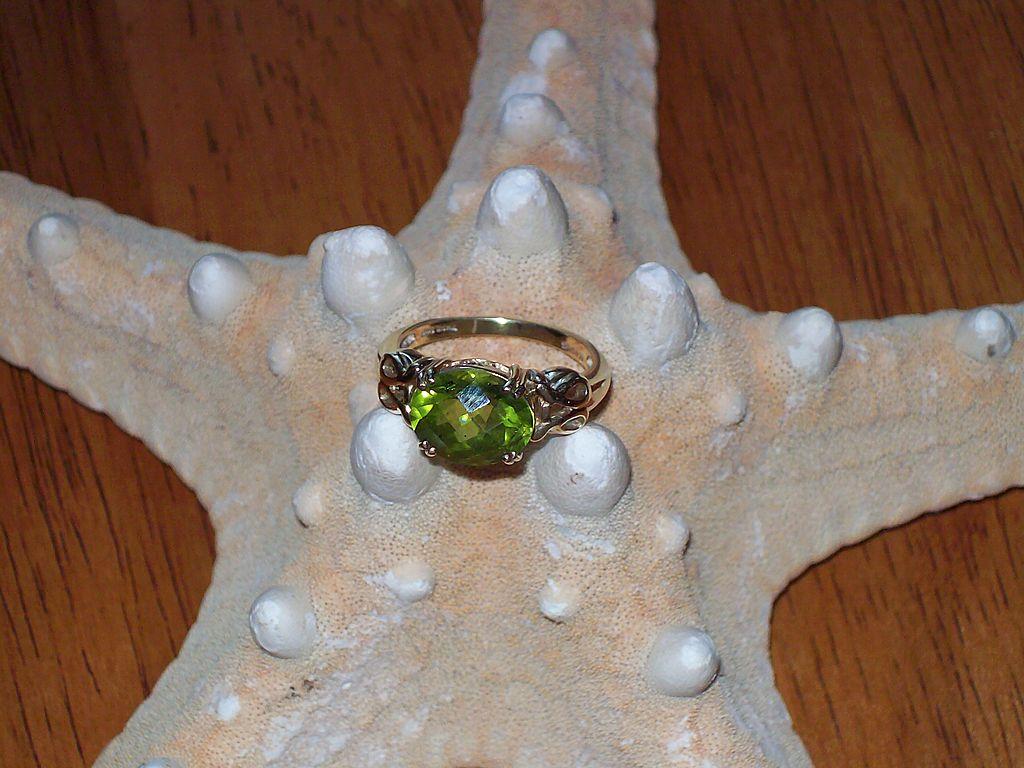 Chinese Peridot Ring in 10 Karat Yellow Gold