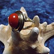 Sardinian Red Coral and 8 Karat Gold Ring