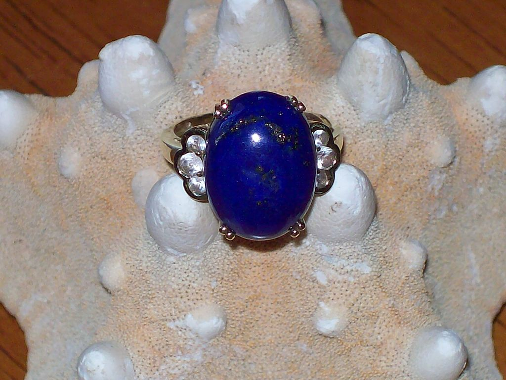 Lapis and White Sapphire Ring in 10 Karat Yellow Gold