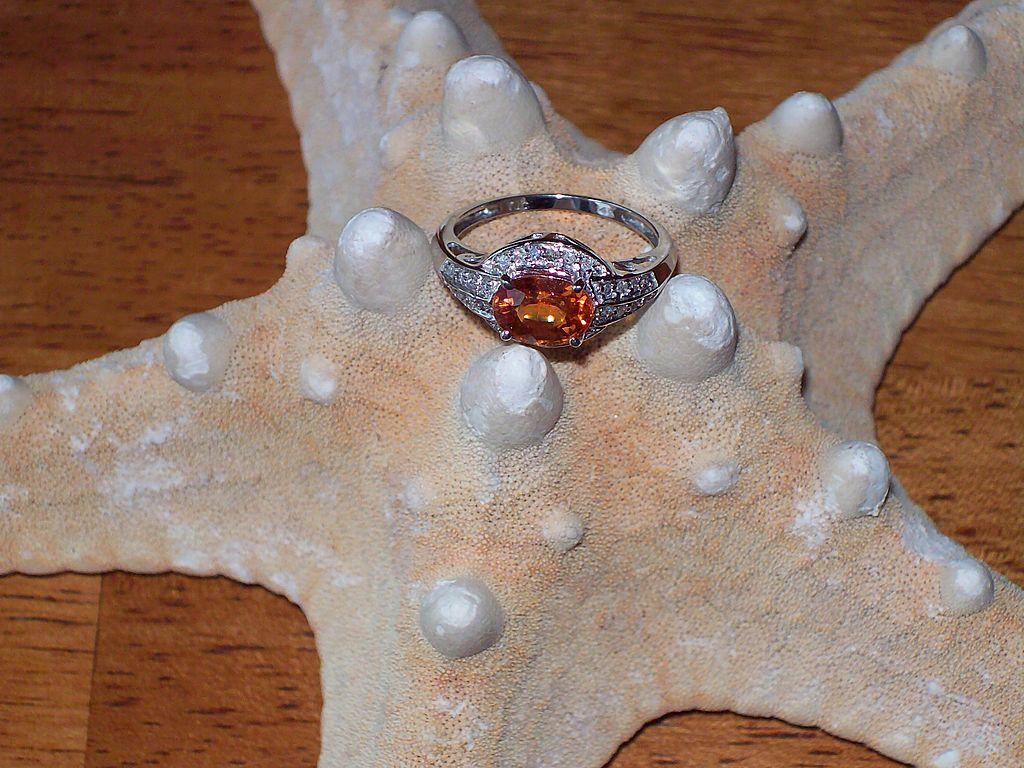 Spessartite Mandarin Garnet and Diamond Ring ~ 14 Karat White Gold