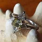 Fancy Canary Yellow Diamond Retro Period Ring