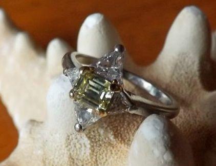 Fancy Canary Yellow Diamond Retro Period Ring set in Platinum