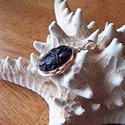 Carved Black Tibetan Jade 14 Karat Gold Enhancer Pendant