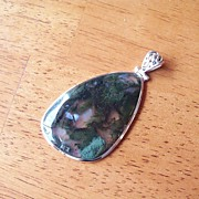 Gigantic Moss Agate Pendant set in Sterling Silver