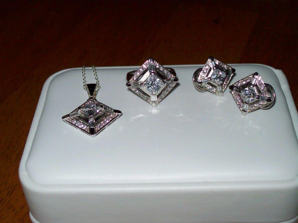 Art  Deco Era Inspired Earrings, Pendant and Ring in Sterling