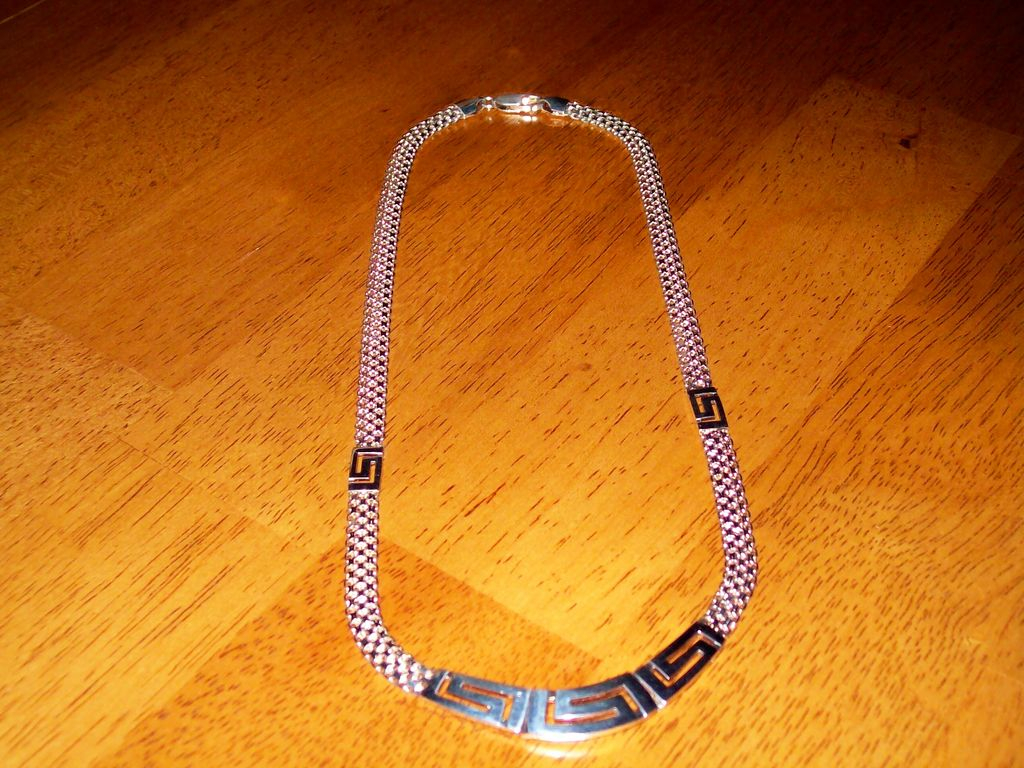 Greek Key Sterling Silver Necklace