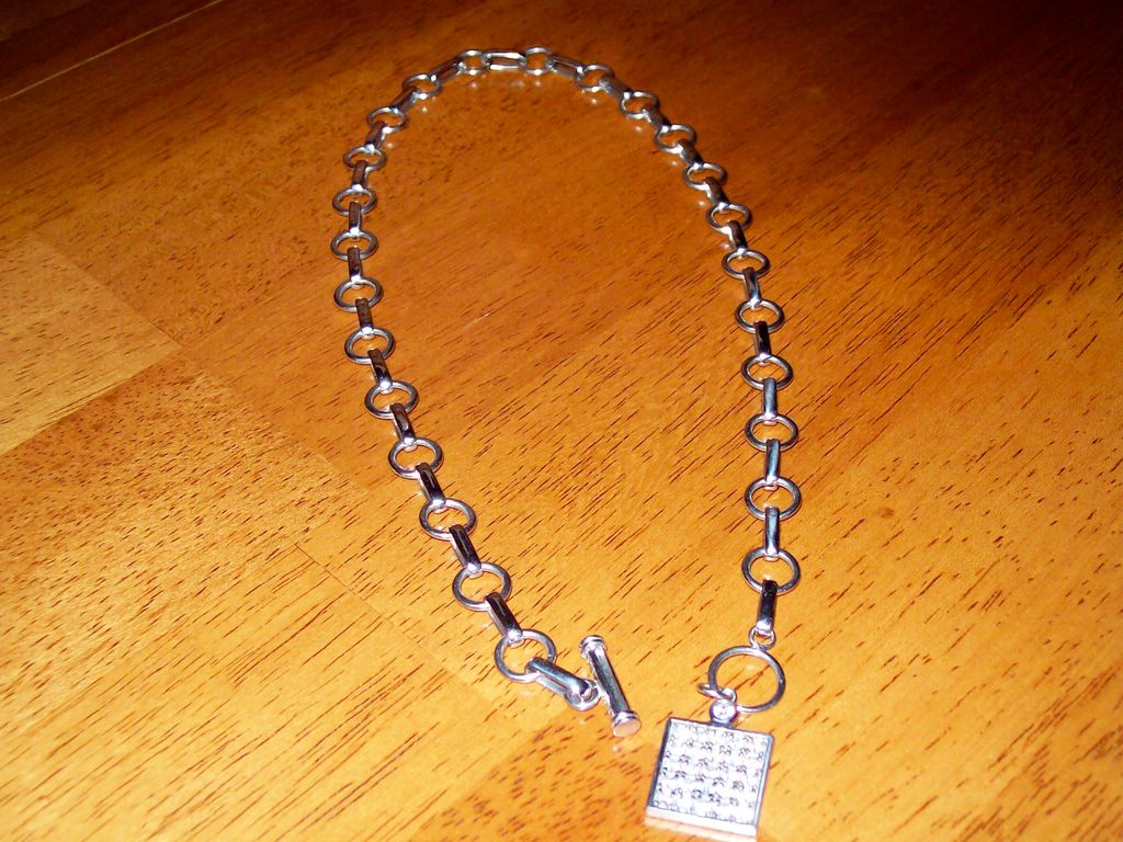 Vintage Sterling Toggle and Tag Style Necklace