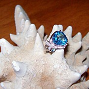 Trillion Cut Swiss Blue Topaz in 14 Karat  White Gold