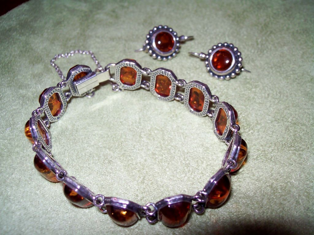 Amber and Sterling Silver Bracelet and Earrings Set