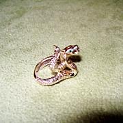 Jeweled Cobra Snake Ring - 15.77 Grams of 14 Karat Gold!