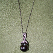 Black Tahitian Pearl and White Topaz Necklace