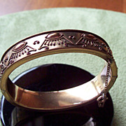 Egyptian Revival Motif 14 Kt Gold Filled Hinged Bangle Bracelet