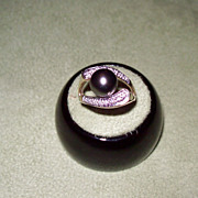 Black Tahitian Pearl and Diamond Ring in Yellow Gold