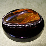 Large Baltic Amber and Sterling Silver Pin