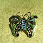 Vintage Mexican Enameled Butterfly Pin
