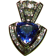 4.25 Carat Trillion Cut Tanzanite and Diamond Pendant set in 14 kt. White Gold