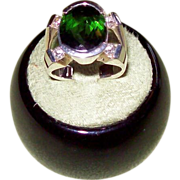 Half Bezel Set Chrome Tourmaline and Diamond Ring in 14 karat Yellow Gold
