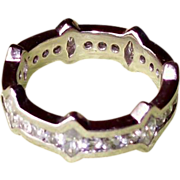Channel Set Marquise and Round Diamond Platinum Band