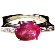 Bubble Gum Pink Tourmaline and Diamond Ring in 14 karat White Gold