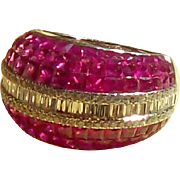 4.75 Carat Ruby and Diamond Domed Band Ring in 18 Karat White Gold