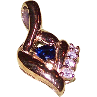 Sapphire and Diamond Pendant in 14 KT Yellow Gold