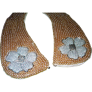 Magnificent Vintage Beaded & Faux Seed Pearl Satin Lined Accent Collar
