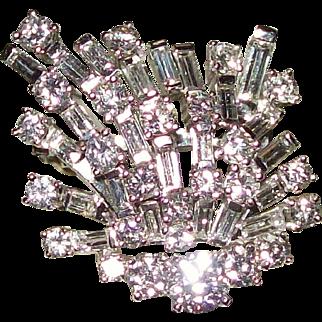 Art Deco Platinum and 5.20 Carat Diamond Broach & Pendant
